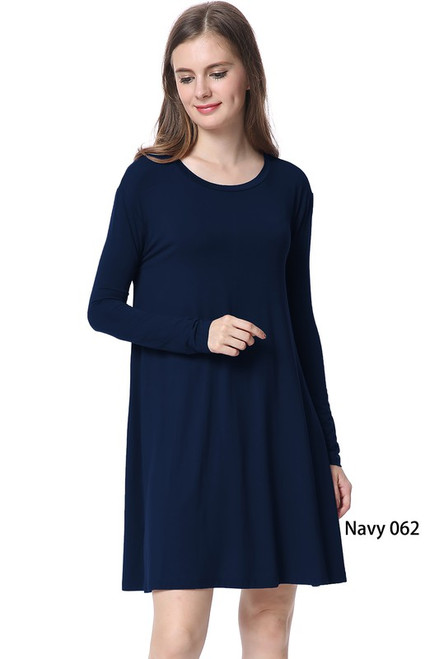 Long Sleeve Piko Swing Dress, Navy