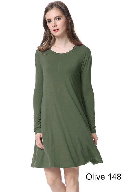 Long Sleeve Piko Swing Dress, Olive