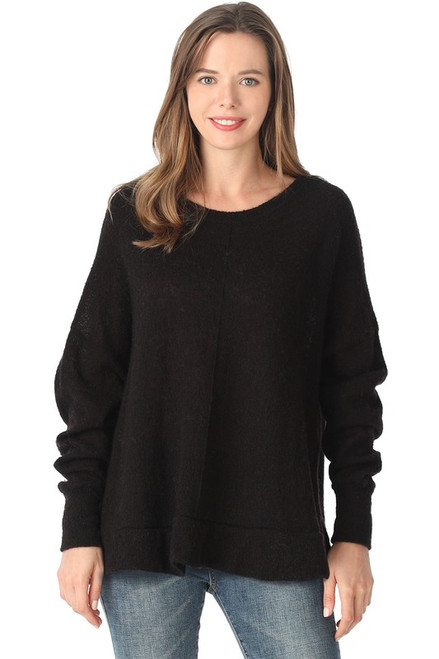 Knitted Round Neck Piko Sweater, Black