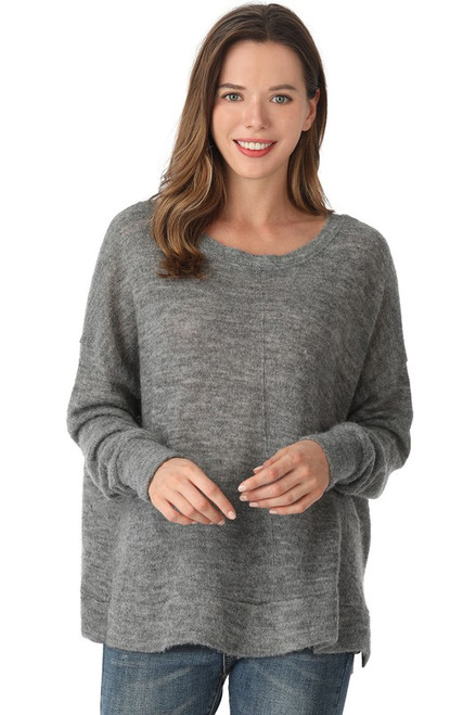 Knitted Round Neck Piko Sweater, H Grey