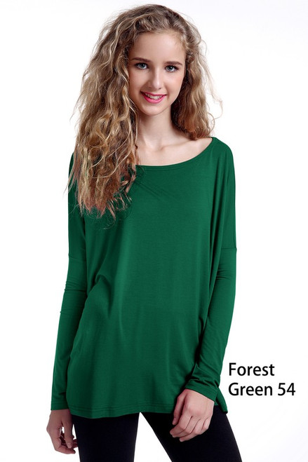 Piko Long Sleeve Top, Forest Green