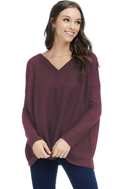 Knitted V-Neck Piko Sweater, Wine