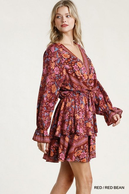 Floral Border Print Layered Dress, Red/Red Bean