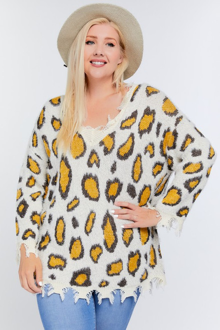 Curvy Animal Print Distressed Sweater, Cream Multi