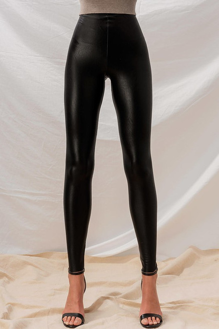 Faux High Rise Leather Leggings, Black