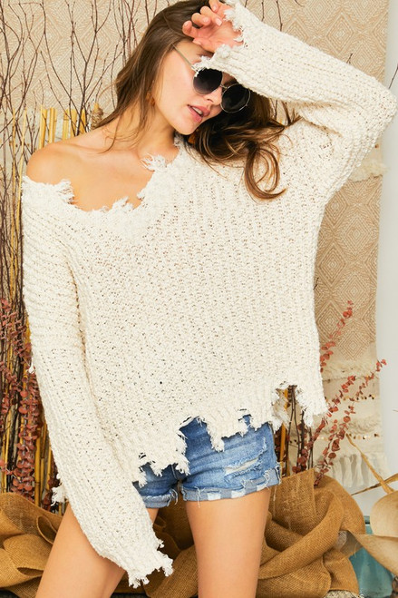 Distressed Boat Neck Sweater, Ivory