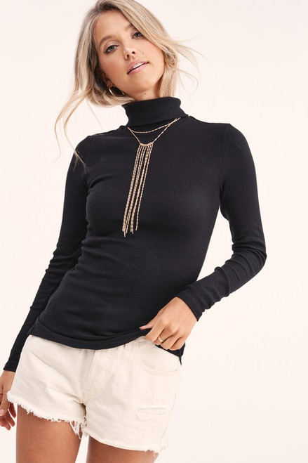 LS Turtleneck Top, Black