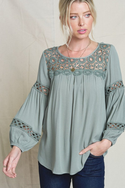 Embroidered Lantern Sleeve Top, Olive