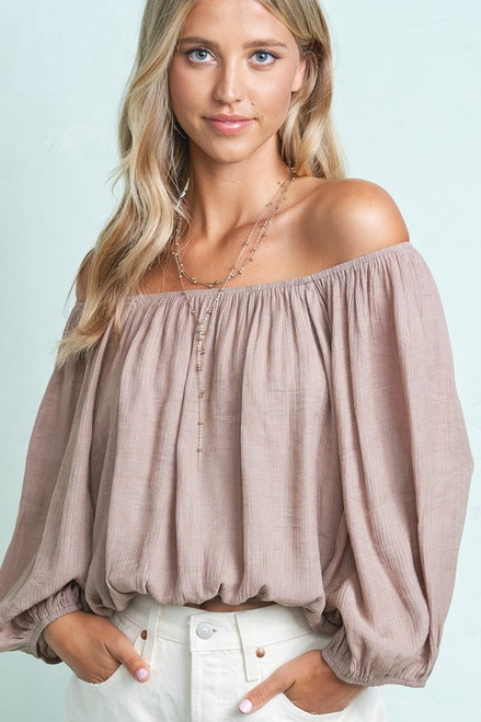 Off the Shoulder Crop Top, Taupe