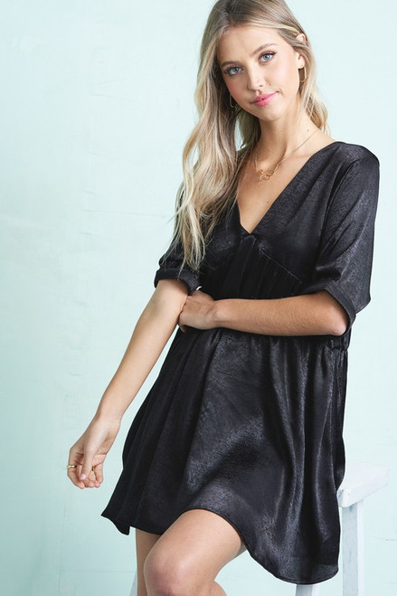 V-Neck Mini Dress, Black