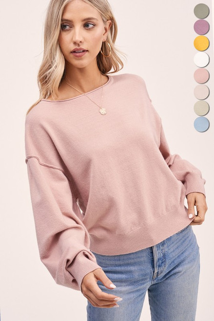 Off the Shoulder Lightweight Sweater, Blossom