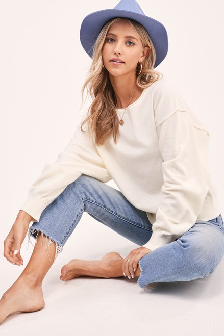 Off the Shoulder Lightweight Sweater, Ivory