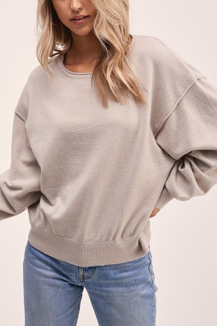 Off the Shoulder Lightweight Sweater, Mushroom