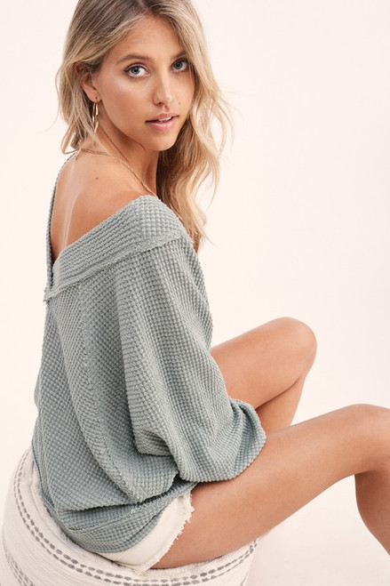 Cozy Waffle Knit Detailed Top, Sage