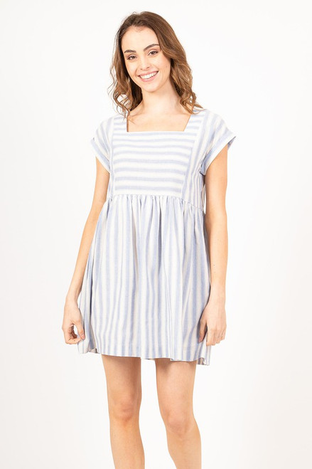 Striped Cap Sleeve Babydoll Dress, Sky