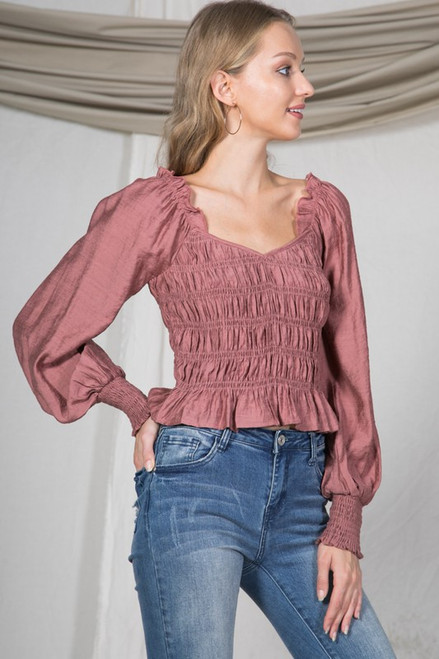 Ruched Ruffle Crop Top, Mauve