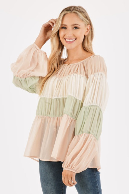 Spring Color Block Top, Taupe Mix
