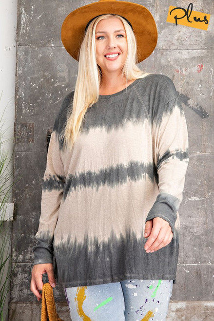 Curvy LS Wave Washed Top, Ash