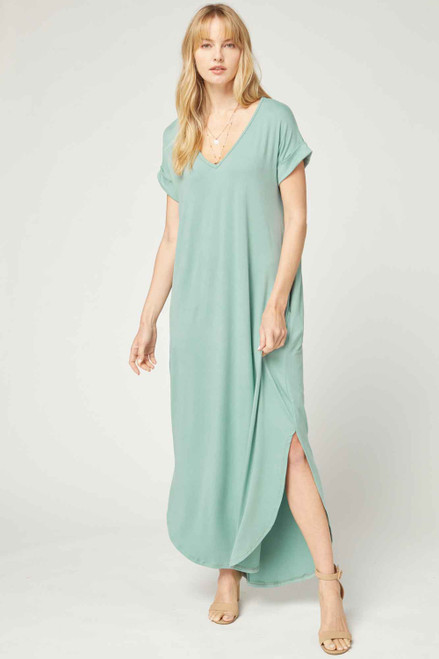 Solid V-Neck Maxi Dress, Seafoam