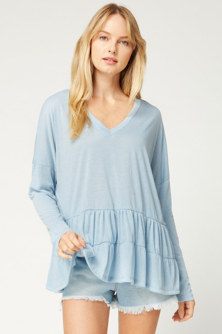 V-Neck Drop Waist Tiered Top, Blue