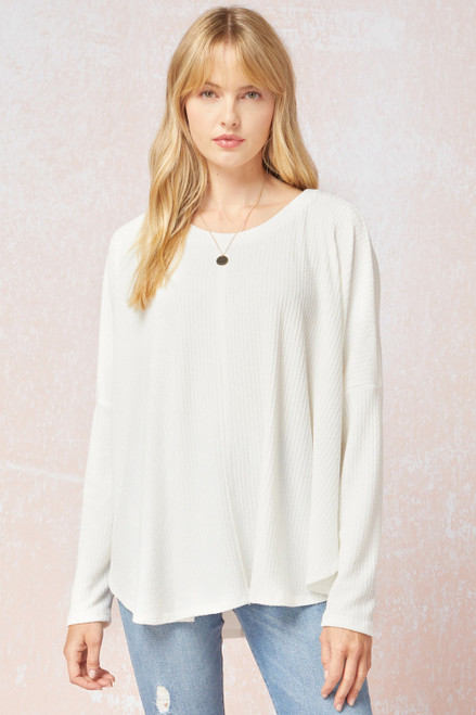 Ribbed Scoop Neck Oversized Top, Off White