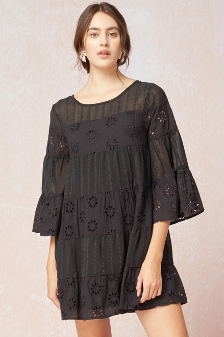 Eyelet Lace Panel Dress, Black