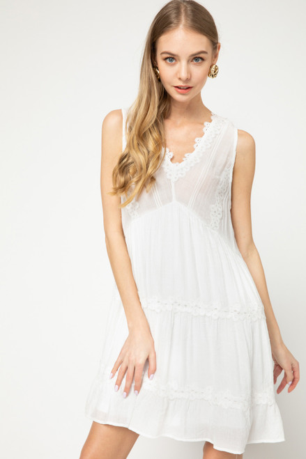 Crochet Lace Sleeveless Dress, White