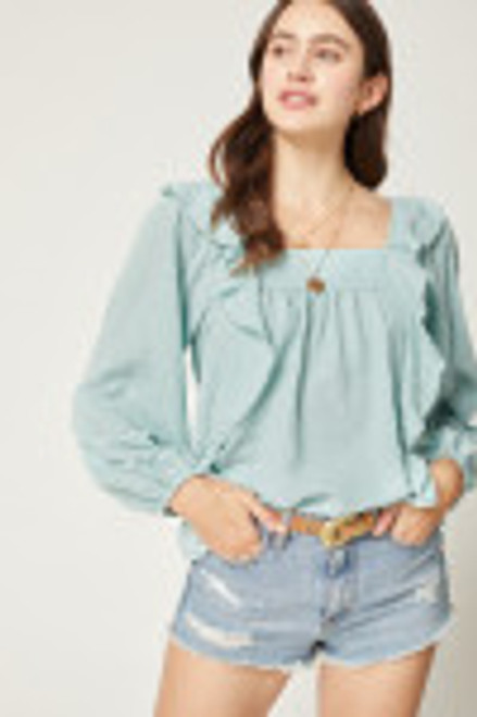 Square Neck Ruffle Detail Top, Sage