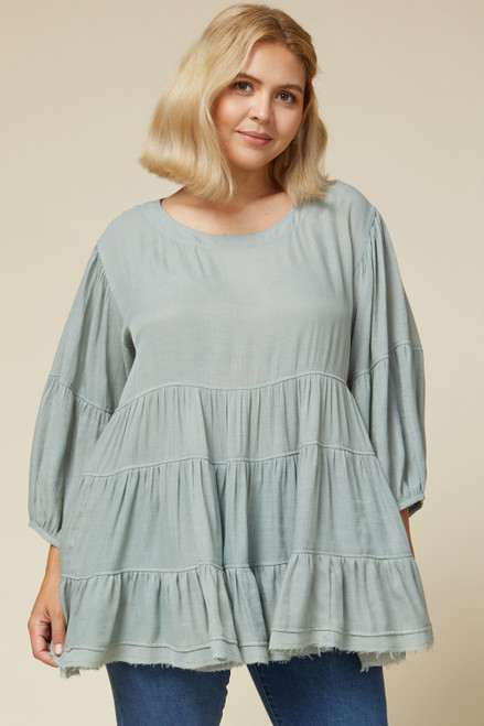 Curvy Solid Scoop Neck Tiered Top, Misty Blue