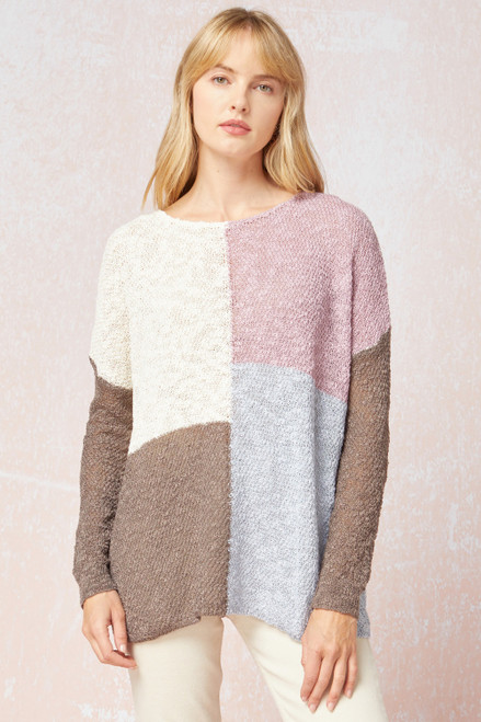 Textured Knit Color Block Top, Lavender Mocha