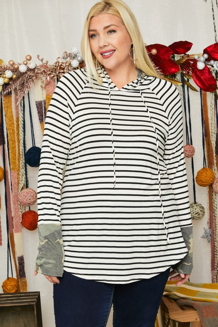 Curvy Camo Sleeve Striped Drawstring Top, Ivory/ Black