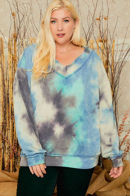 Curvy V-Neck LS Tie Dye Top, Teal Green