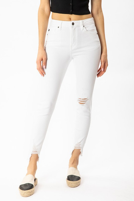 High Rise Raw Hem Ankle Skinny, White