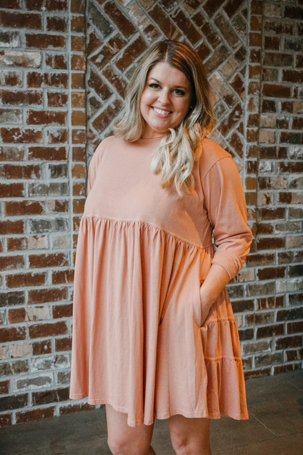 LS Cotton Babydoll Dress, Antique Rose
