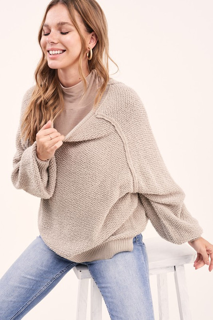 Balloon Sleeve Knit Sweater, Grey Taupe