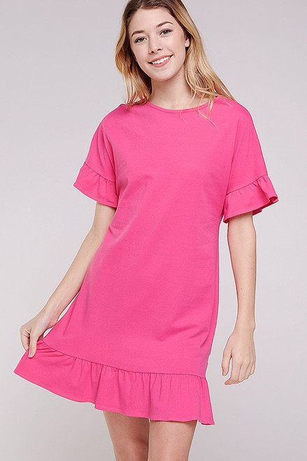 Cotton Ruffle Sleeve Dress, Hot Pink