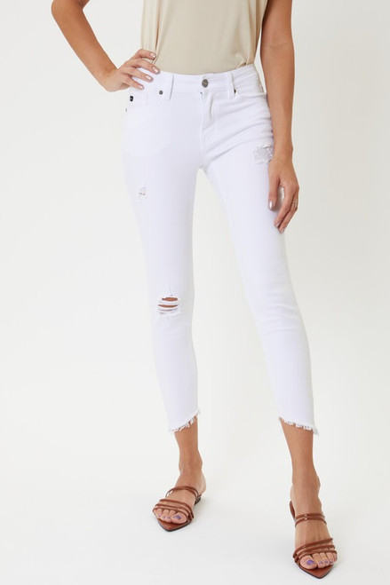 Mid Rise Distressed Ankle Skinny, White