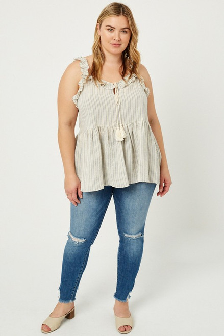 Curvy Striped Ruffle Tank, Blue