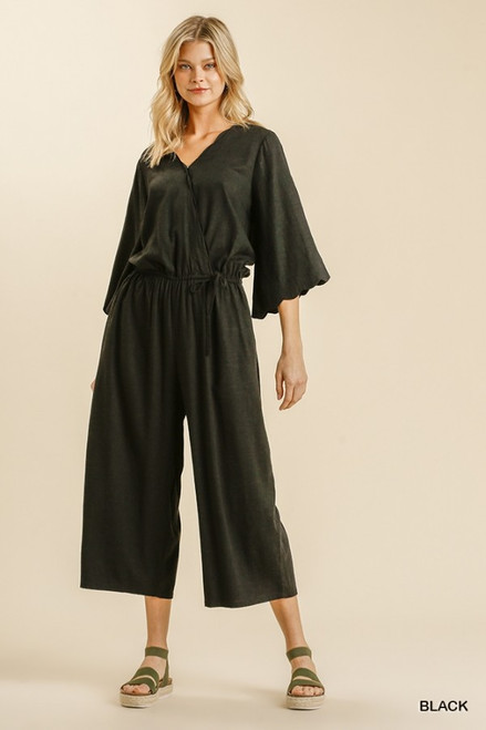 Scalloped Linen Jumpsuit, Black
