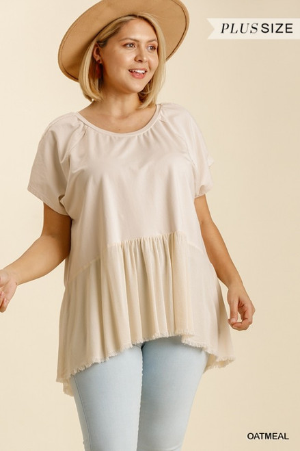 Curvy Lightweight Babydoll Top, Oatmeal
