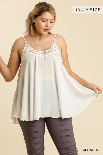 Curvy Lace Detail Tank, Off Whiite
