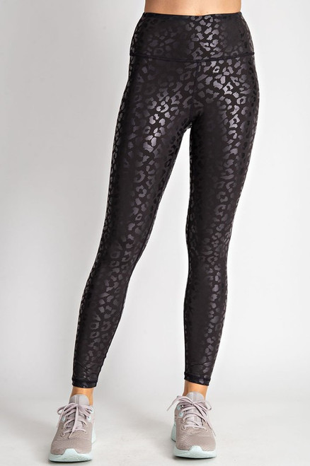 Leopard Leggings, Black