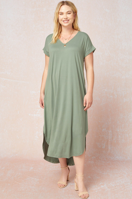 Curvy Solid V-Neck Maxi Dress, Army
