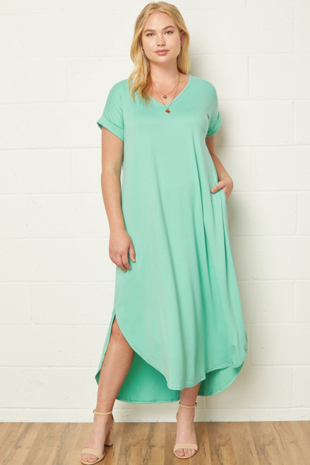 Curvy Solid V-Neck Maxi Dress, Mint