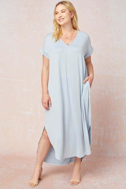 Curvy Solid V-Neck Maxi Dress, Pale Blue