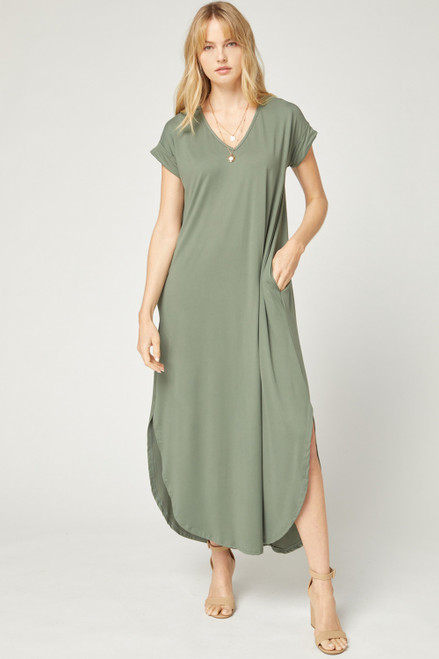 Solid V-Neck Maxi Dress, Army