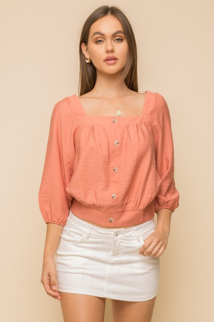 Button Down Square Neck Top, Coral