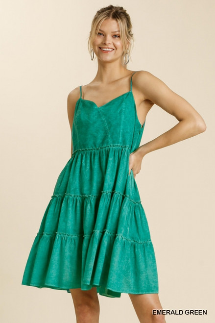 Sweetheart Tiered Dress, Emerald Green