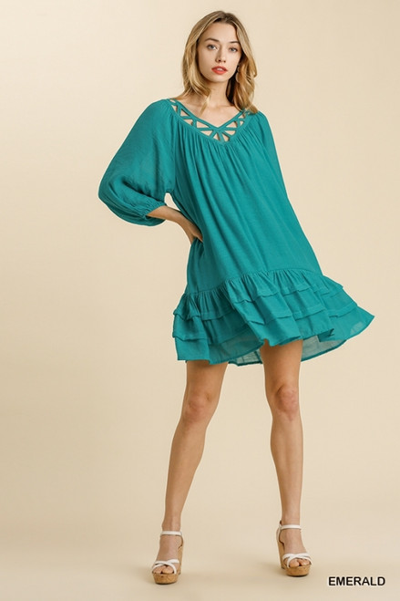 Cut Out Detailed Puff Sleeve Dress, Emerald