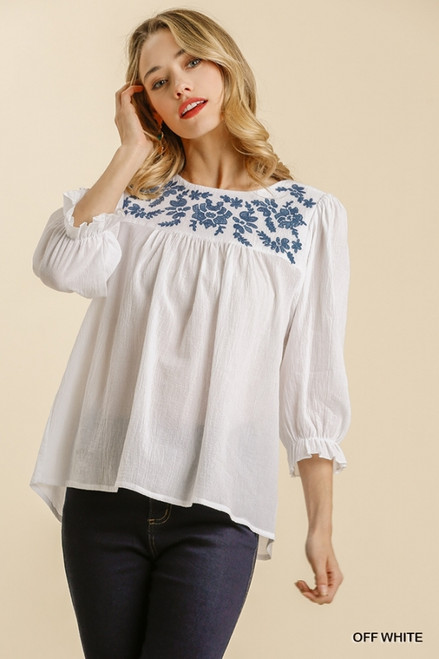 Floral Embroidered Yoke Top, Off White